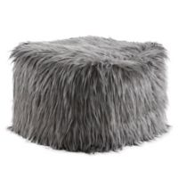 Madison Park Edina Eyelash Faux Fur Pouf in Grey