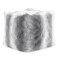 Madison Park Zuri Ombre Faux Fur Pouf in Grey