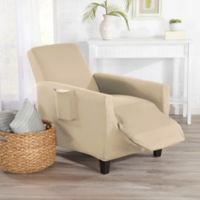 Great Bay Home Dawson Stretch Recliner Slipcover in Cream