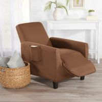 Great Bay Home Dawson Stretch Recliner Slipcover in Toffee