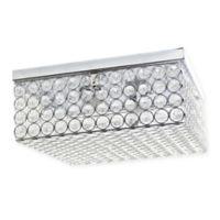 Elegant Designs Elipse Square 2-Light Flush-Mount Ceiling Light in Chrome