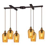 Elk Lighting Amber Hammered Glass 33-Inch 6-Light Pendant in Oil Rubbed Bronze