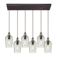 Elk Lighting Clear Hammered Glass 30-Inch 6-Light Pendant in Oil Rubbed Bronze