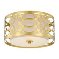 Filament Design Ornate 2-Light Flush Mount Ceiling Light in Natural Brass