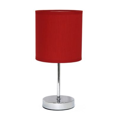Mini Table Lamp In Chrome With Red Shade