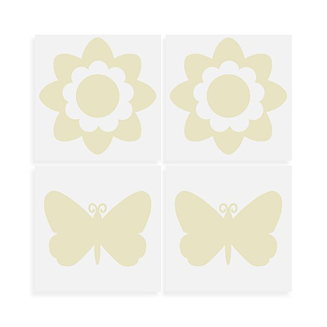 WallPops!® Flowers and Butterflies Wall Decals in Ivory