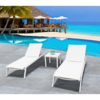 Bellini Home and Gardens Southampton 3-Piece Chaise Lounge Set in White
