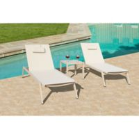 Bellini Home and Gardens York Carina 3-Piece Chaise Lounge Set in Off-White