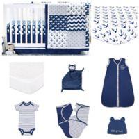 The PeanutShell™ Navy Whale 11-Piece Sleep Essentials Crib Set