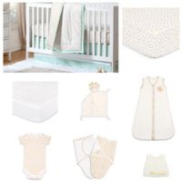 The Peanut Shell™ Minted Confetti 11-Piece Sleep Essentials Crib Set in Mint/Gold