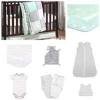 The PeanutShell™ Adventure Patch 11-Piece Sleep Essentials Crib Set in Mint/Grey
