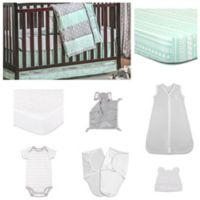 The PeanutShell™ Straight and Arrow Bedding Sleep Essentials Crib Set in Mint/Grey