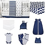 The Peanutshell® Eli Chevron 11-Piece Sleep Essentials Crib Set in Navy/Grey