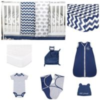 The PeanutShell™ Eli Chevron 11-Piece Sleep Essentials Crib Set in Navy/Grey