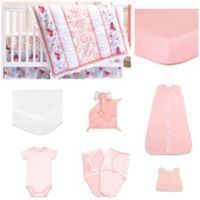 The Peanut Shell™ Camilla 11-Piece Sleep Essentials Crib Set in Coral