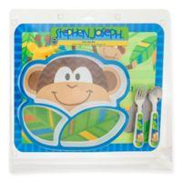 Stephen Joseph 4-Piece Mealtime Set in Monkey Blue