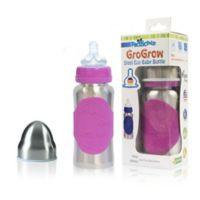 Pacific Baby GoGrow 10 fl. oz. Steel Wide-Neck Infant Feeding Bottle in Silver/Pink