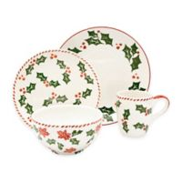 Euro Ceramica Natal Festive Holiday 16-Piece Dinnerware Set