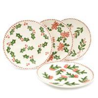 Euro Ceramica Natal Festive Holiday Salad Plates (Set of 4)