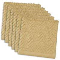 DII Design Imports Zigzag Barmop Dishcloth (Set of 6) in Brown