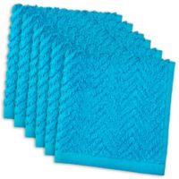 DII Design Imports Zigzag Barmop Dishcloth (Set of 6) in Neon Blue