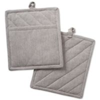 DII Design Imports Solid Chambray Pot Holder (Set of 2) in Brown