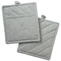 DII Design Imports Solid Chambray Pot Holder (Set of 2) in Green