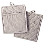 DII Design Imports Solid Chambray Pot Holder (Set of 2) in Natural
