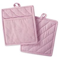DII Design Imports Solid Chambray Pot Holder (Set of 2) in Pink