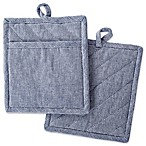 DII Design Imports Solid Chambray Pot Holder (Set of 2) in Blue