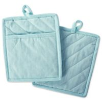 DII Design Imports Solid Chambray Pot Holder (Set of 2) in Aqua