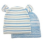 NYGB Size 0-6M 2-Piece Striped Ears and Pretwist Hat Set in Blue/Grey