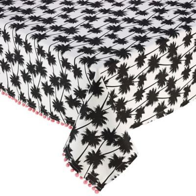 Design Imports Palm Paradise 60 Inch X 84 Inch Oval Tablecloth In Black
