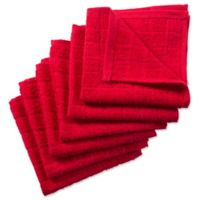 DII Design Imports Windowpane Dishcloth (Set of 6) in Red