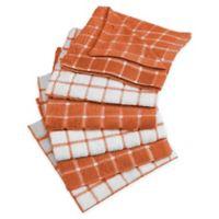 DII Design Imports Windowpane Dishcloth (Set of 6) in Orange