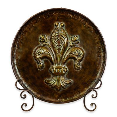 Ridge Road Décor Fleur de Lis Decorative Iron Plate with Stand in Brown  sc 1 st  Bed Bath u0026 Beyond & Buy Decorative Plate Stands from Bed Bath u0026 Beyond