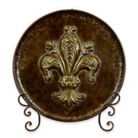 Ridge Road Décor Fleur de Lis Decorative Iron Plate with Stand in Brown