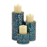 Ridge Road Décor 3-Piece Metal Mosaic Candle Holder Set in Turquoise