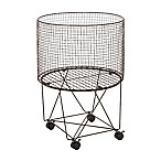 Ridge Road Décor Round Iron Wire Rolling Basket in Grey