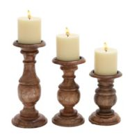 Ridge Road Décor 3-Piece Turned Wood Candle Holder Set in Brown