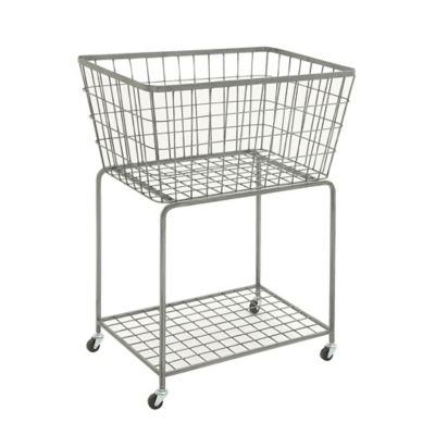 Ridge Road Décor Rectangular Iron Wire Rolling Basket In Grey