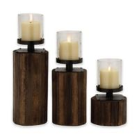 Ridge Road Décor 3-Piece Round Wood/Glass Candle Holder Set in Brown
