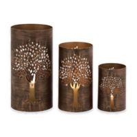 Ridge Road Décor Pierced Tree 3-Piece Iron Hurricane Candle Holder Set in Bronze