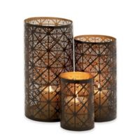 Ridge Road Décor Pierced Circles 3-Piece Iron Hurricane Candle Holder Set in Bronze