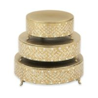 Ridge Road Décor 3-Piece Mosaic Cake Stand Set in Gold