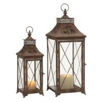 Ridge Road Décor 2-Piece Diamond Glass and Iron Candle Lantern Set in Bronze