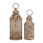 Ridge Road Décor 2-Piece Round Scallop Lattice Iron Candle Lantern Set in Beige