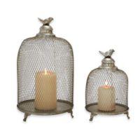 Ridge Road Décor 2-Piece Birdcage Iron Candle Lantern Set in Silver
