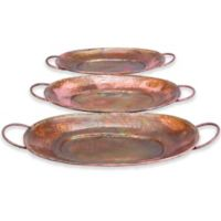 Ridge Road Décor 3-Piece Oval Hammered Iron Serving Tray Set in Copper
