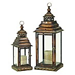 Ridge Road Décor 2-Piece Swag Iron/Glass Candle Lantern Set in Brown